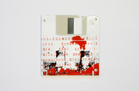 GAU - German for maximum credible accident - silk screened on Floppy disk