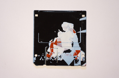 "silk screened 3.5"" floppy disk - artwork - from The Ladies series"