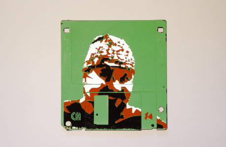 "silk screened 3.5"" floppy disk - artwork - Pekka II"