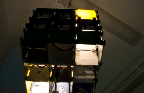 yet another floppy disc cube - 3 x 3 floppy disks - from below