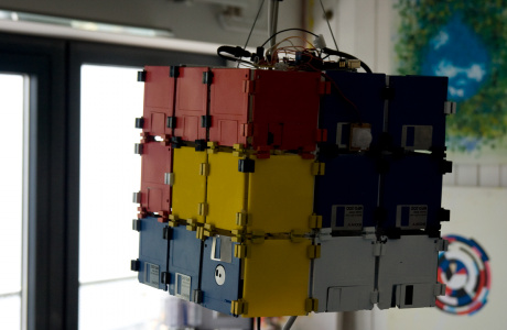 yet another floppy disc cube - 3 x 3 floppy disks - light