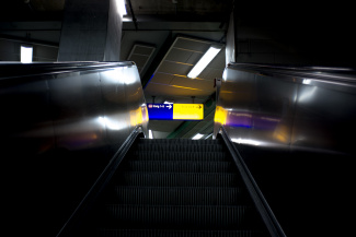 An escalator at one of the subway stations in Essen